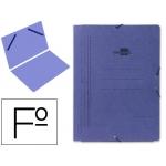 Carpeta Liderpapel gomas tamaño folio sencilla cartón pintado color azul