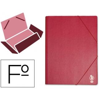 Liderpapel CG44 - Carpeta de plástico con gomas, con tres solapas, lomo flexible, tamaño folio, color burdeos
