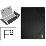 Carpeta Liderpapel gomas tamaño folio solapas plástico negra