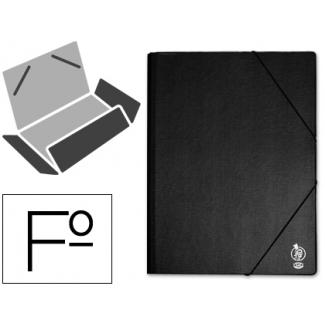 Liderpapel CG45 - Carpeta de plástico con gomas, con tres solapas, lomo flexible, tamaño folio, color negro