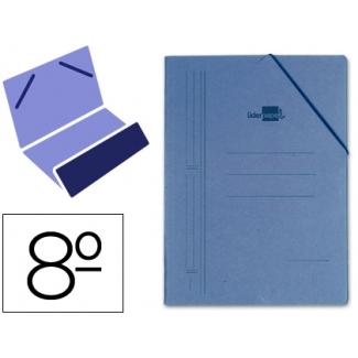 Liderpapel CG11 - Carpeta de cartón con gomas, con una solapa, tamaño octavo, color azul