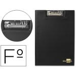 Liderpapel MS04 - Carpeta portanotas con pinza, plástico, tamaño folio, color negro