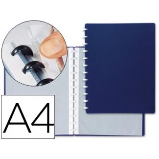 Liderpapel WA02 - Carpeta con fundas extraíbles, tapa flexible, A4, 20 fundas, color azul opaco