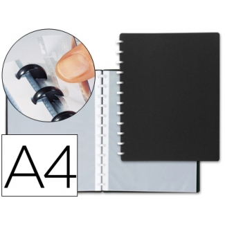 Carpeta Liderpapel tamaño A4 con 20 fundas intercambiables color negro