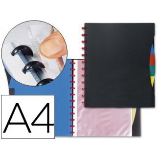 Carpeta Liderpapel tamaño A4 con 20 fundas y 4 separadores fundas intercambiables