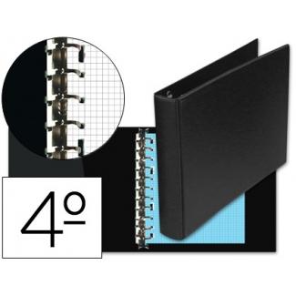 Multifin 4012368 - Carpeta de anillas, 8 anillas múltiples de 25 mm, plástico, tamaño cuarto apaisado, color negro