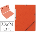 Carpeta Q-Connect gomas cartón simil-prespan tamaño A4 color naranja