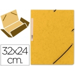 Carpeta Q-Connect gomas cartón simil-prespan solapas tamaño A4 color amarillo