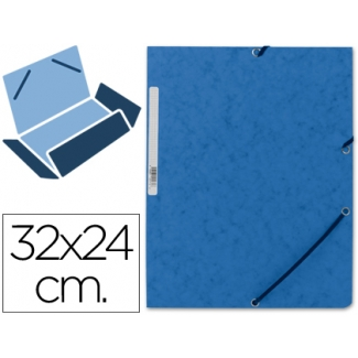 Carpeta Q-connect gomas cartón simil-prespan solapas tamaño A4 color azul