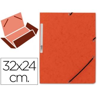 Carpeta Q-connect gomas cartón simil-prespan solapas tamaño A4 color naranja