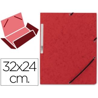 Carpeta Q-connect gomas cartón simil-prespan solapas tamaño A4 color roja
