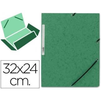 Carpeta Q-connect gomas cartón simil-prespan solapas 3tamaño A4 color verde