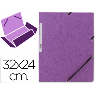 Carpeta Q-connect gomas cartón simil-prespan solapas tamaño A4 color violeta