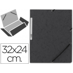 Carpeta Q-connect gomas cartón simil-prespan solapas tamaño A4 negra