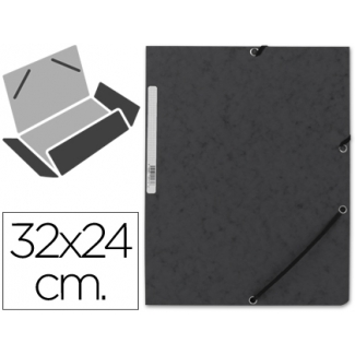 Q-Connect KF02169 - Carpeta de cartón con gomas, con tres solapas, tamaño A4, color negro