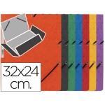 Carpeta Q-connect gomas cartón simil-prespan solapas tamaño A4 colores surtidos roja-amarilla-azul-verde-naranja