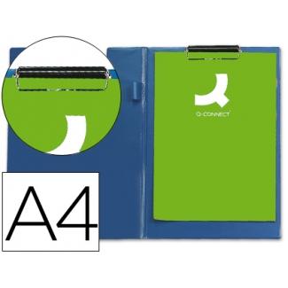 Q-Connect KF01301 - Carpeta portanotas con pinza, plástico, tamaño A4, color azul