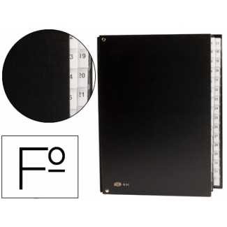 Carpeta clasificador cartón compacto Pardo tamaño folio 31 departamento numéricos color negro