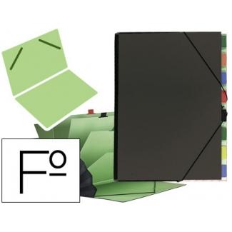 Carpeta clasificador cartón compacto Pardo tamaño folio 9 departamentos color negro
