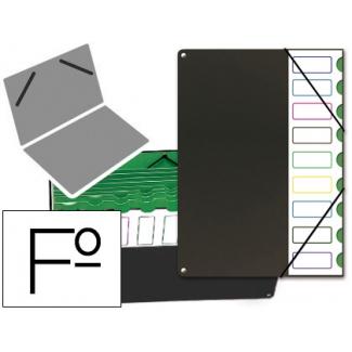 Pardo 85001 - Carpeta clasificadora con fuelle, plástico, tamaño folio, color 9 departamentos, negro