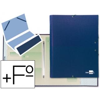 Liderpapel CS01 - Carpeta clasificadora con gomas, una solapa, tamaño folio+, 12 departamentos, color azul