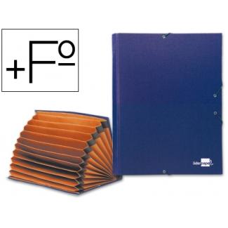 Carpeta clasificadora Liderpapel 12 departamentos tamaño folio prolongado cartón forrado color azul fuelle