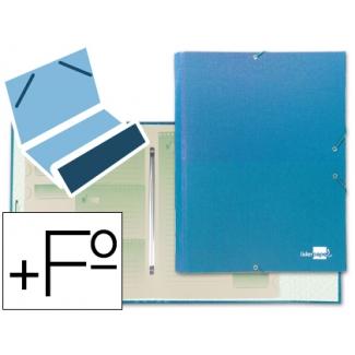 Liderpapel CS05 - Carpeta clasificadora con gomas, una solapa, tamaño folio+, 12 departamentos, color celeste