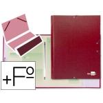 Carpeta clasificadora Liderpapel 12 departamentos tamaño folio prolongado cartón forrado color roja