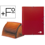 Carpeta clasificadora Liderpapel 12 departamentos tamaño folio prolongado cartón forrado color roja fuelle