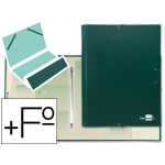 Carpeta clasificadora Liderpapel 12 departamentos tamaño folio prolongado cartón forrado color verde