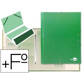 Carpeta clasificadora Liderpapel 12 departamentos tamaño folio prolongado cartón forrado color verde claro