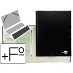 Carpeta clasificadora Liderpapel 12 departamentos tamaño folio prolongado cartón forrado negra