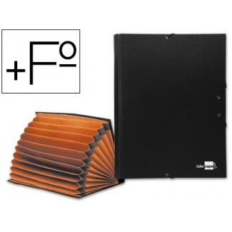 Carpeta clasificadora Liderpapel 12 departamentos tamaño folio prolongado cartón forrado negra fuelle