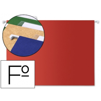 Liderpapel SF10 - Carpeta colgante, tamaño folio, visor superior, color rojo