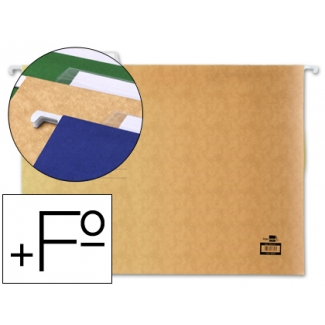Carpeta colgante Liderpapel tamaño folio prolongado color kraft