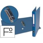 Carpeta de 2 anillas 25 mm mixtas Liderpapel tamaño folio forrado papercoat con ollao y tarjetero compresor plástico color azul