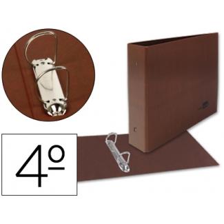 Liderpapel CA35 - Carpeta cartón cuero, 2 anillas mixtas de 25 mm, tamaño cuarto apaisado