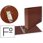 Carpeta de 2 anillas 25 mm mixtas Liderpapel tamaño folio apaisado cartón cuero forrado