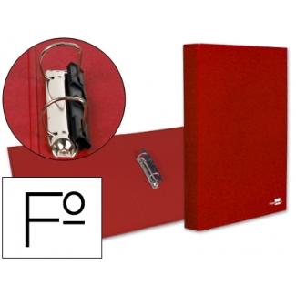 Carpeta de 2 anillas 25 mm mixtas Liderpapel tamaño folio cartón forrado paper coat compresor plástico color roja