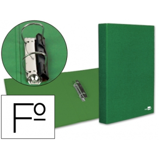 Carpeta de 2 anillas 25 mm mixtas Liderpapel tamaño folio cartón forrado paper coat compresor plástico color verde