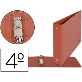 Carpeta de 2 anillas 25 mm redondas Liderpapel tamaño cuarto apaisado cartón cuero