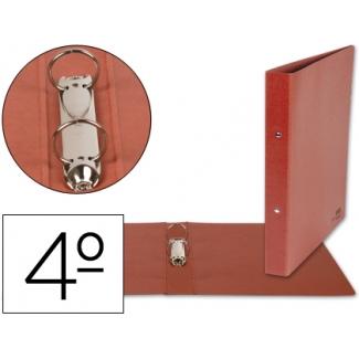 Liderpapel CA05 - Carpeta cartón cuero, 2 anillas redondas de 25 mm, tamaño cuarto