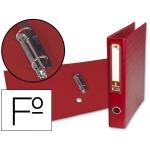 Carpeta de 2 anillas 40 mm mixtas Liderpapel tamaño folio forrado papercoat con ollao y tarjetero compresor plástico color rojo