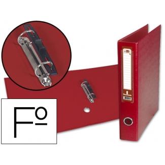 Liderpapel AY10 - Carpeta de anillas, 2 anillas mixtas de 40 mm, cartón forrado, cartón forrado, tamaño folio, color rojo