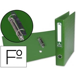 Carpeta de 2 anillas 40 mm mixtas Liderpapel tamaño folio forrado papercoat con ollao y tarjetero compresor plástico color verde