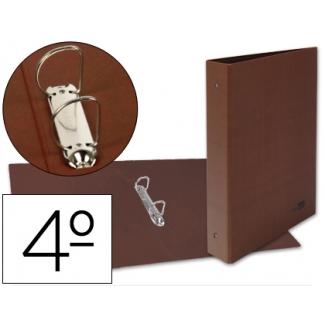 Carpeta de 2 anillas 40 mm mixtas Liderpapel tamaño cuarto cartón cuero forrado compresor plástico