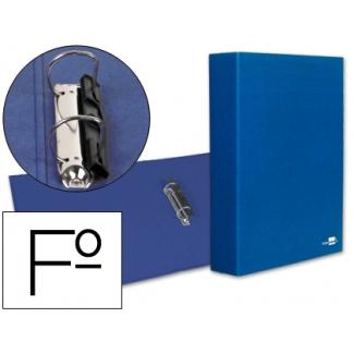 Carpeta de 2 anillas 40 mm mixtas Liderpapel tamaño folio cartón forrado paper coat compresor plástico color azul
