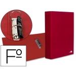 Carpeta de 2 anillas 40 mm mixtas Liderpapel tamaño folio cartón forrado paper coat compresor plástico color roja