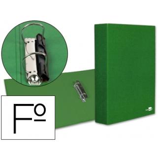 Carpeta de 2 anillas 40 mm mixtas Liderpapel tamaño folio cartón forrado paper coat compresor plástico color verde