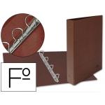 Carpeta de 4 anillas 25 mm mixtas Liderpapel tamaño folio cartón cuero forrado compresor plástico